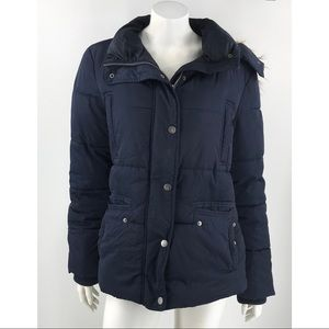 Tommy Hilfiger Blue Hooded Insulated Winter Coat
